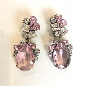Pink and White Crystal Drop Clip Earrings